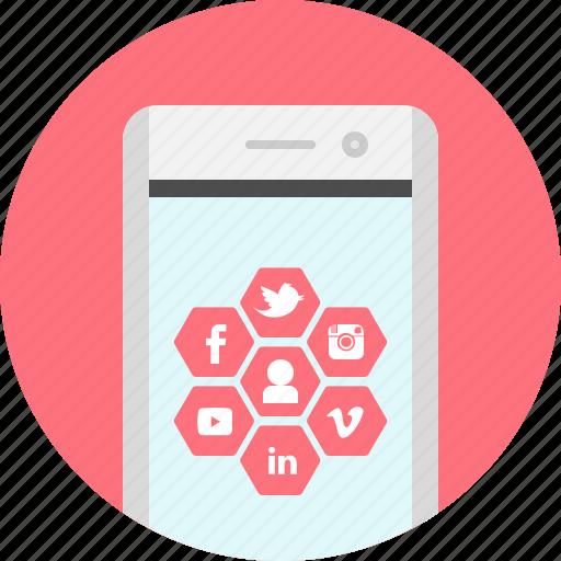 app, marketing, media, mobile, social, social networking icon