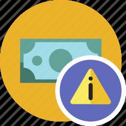 alert, cash, commerce, currency, dollar, money icon