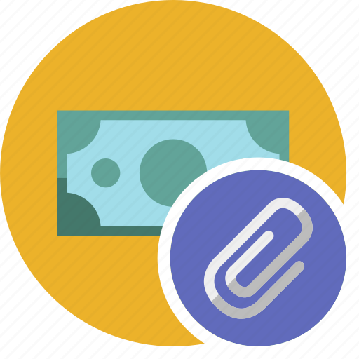 attach, cash, commerce, currency, dollar, money icon