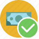 cash, check, commerce, currency, dollar, money icon