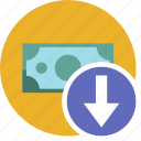 cash, commerce, currency, dollar, down, money icon