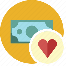 cash, commerce, currency, dollar, favorite, heart, money icon