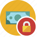 cash, commerce, currency, dollar, lock, money icon