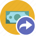 cash, commerce, currency, dollar, money, redo icon