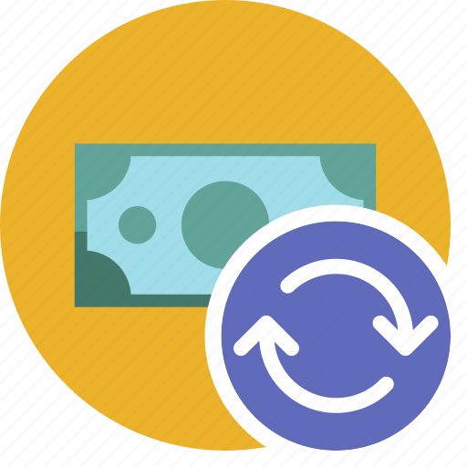 cash, commerce, currency, dollar, money, refresh icon