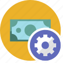 cash, commerce, currency, dollar, money, settings icon