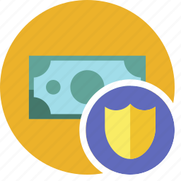 cash, commerce, currency, dollar, money, shield icon