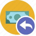 cash, commerce, currency, dollar, money, undo icon
