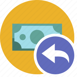 cash, commerce, currency, dollar, money, undo icon