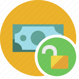cash, commerce, currency, dollar, money, unlock icon