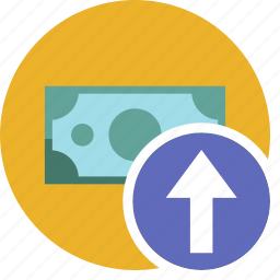 cash, commerce, currency, dollar, money, up icon