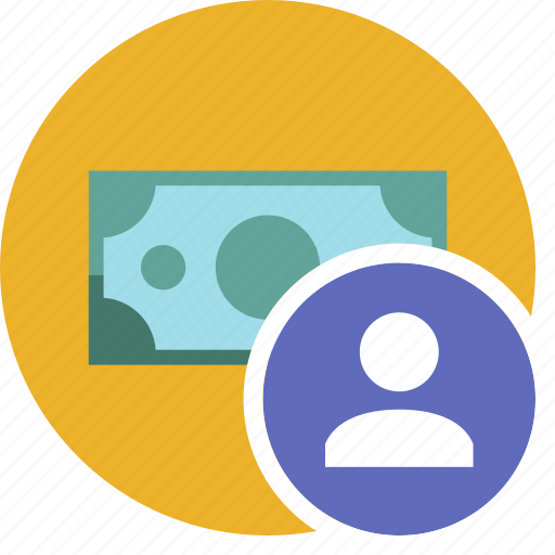 cash, commerce, currency, dollar, money, user icon