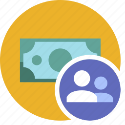 cash, commerce, currency, dollar, group, money, user icon
