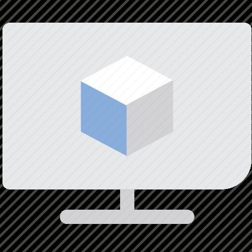 monitor, television, three d, three d tv, tv, video icon
