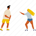 couple, date, love, man, roller-skates, together, woman icon