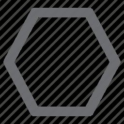 draw, hexagon, imaging, polygon, tool icon