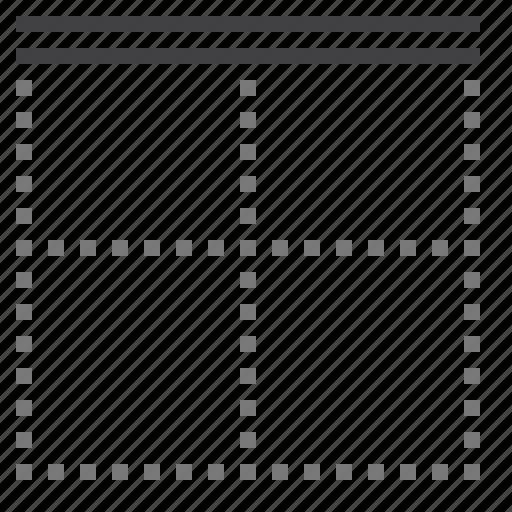 border, cell, double, top icon