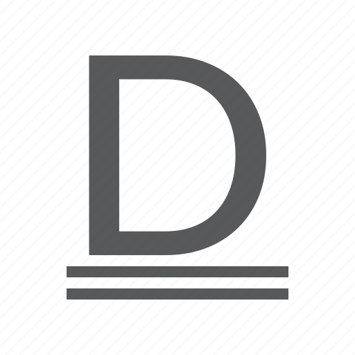 character, double, mode, small, style, text, underline icon