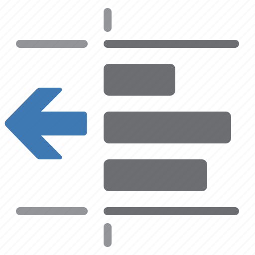 arrow, document, left, paragraph, processing, text, unindent icon