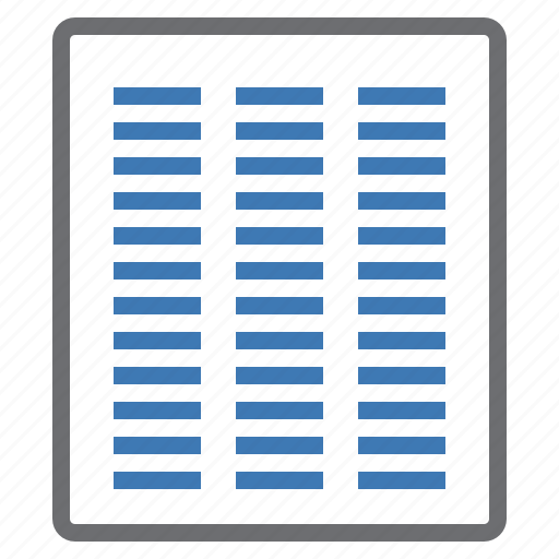 column, configuration, custom, mode, processing, three, view icon