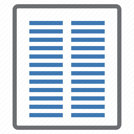 column, configuration, mode, page, processing, two, view icon
