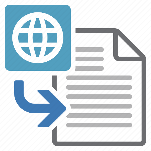 document, file, html, import, insert, processing, put icon