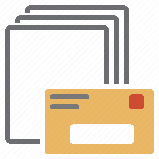 concatenate, letter, mailing, merge, pages, unite icon