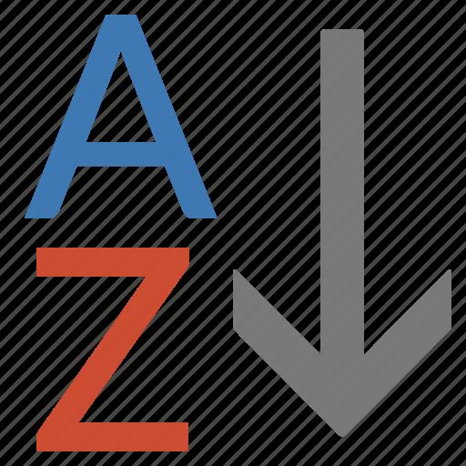 alphabet, alphabetical, az, list, order, processing, sort icon