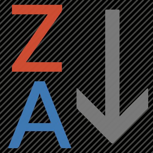 alphabet, list, processing, reverse, sort, word, za icon