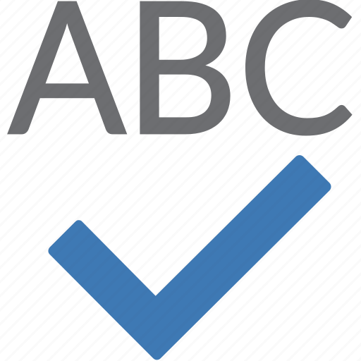 alphabet, check, grammar, orthograph, processing, spell, text icon