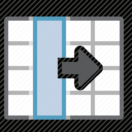 column, move, right, selection, table icon