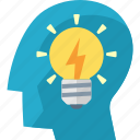 brainstorming, idea, light bulb icon