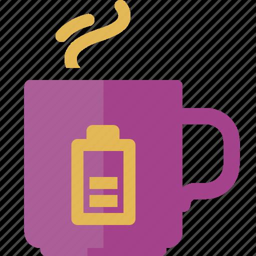 battery, coffee break, cup, energy, tea icon