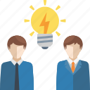 brainstorming, business idea, light bulb, teamwork icon