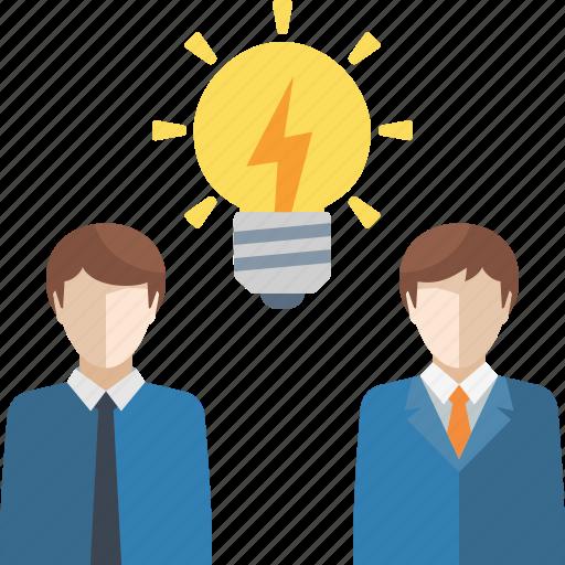 brainstorming, business idea, light bulb, teamwork icon