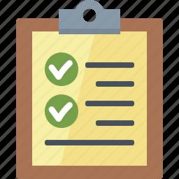 check mark, checklist, clipboard, to do list icon