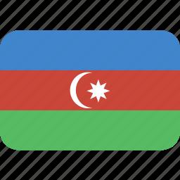 azerbaijan, rectangle, round icon