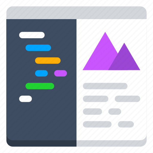 code, console, content, ide, image, split view, terminal icon
