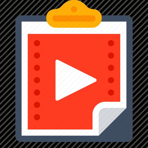 clipboard, film, movie, paste, video icon