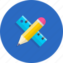 knowledge, pencil, ruler, school, tool icon