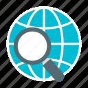 globe, internet, magnifier, web browsing, web search icon icon