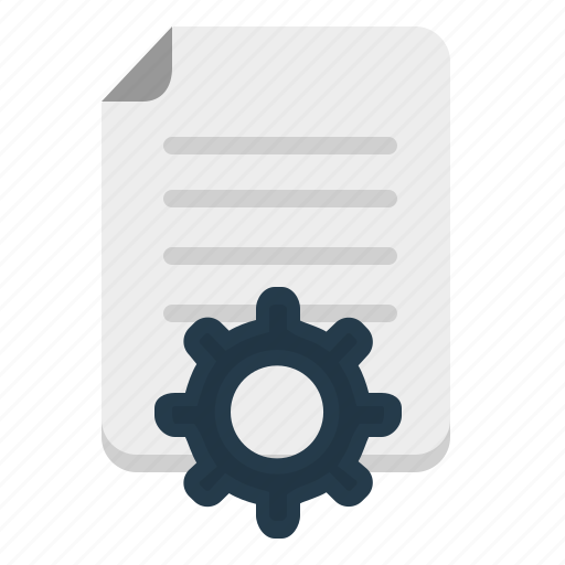 content, document, gear, settings icon