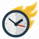 alarm, business, clock, deadline, efficiency, estimate, event, fast, finish, fire, hot, hours, management, meeting, minutes, productivity, quick, schedule, seconds, seo, time, timer, timing, wait, watch icon