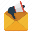 email, internet marketing, megaphone, promotion, subscribe icon