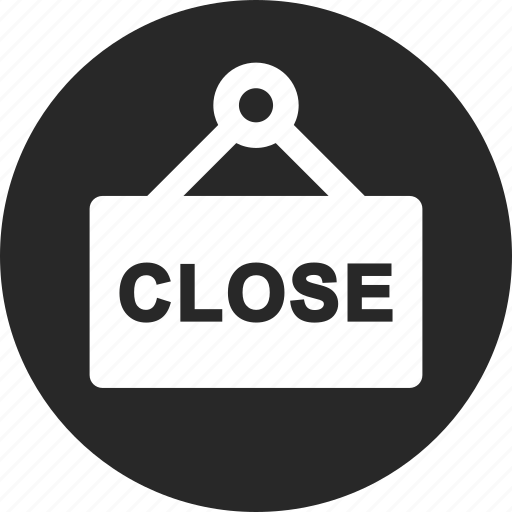close, label, shop, shopping, store icon