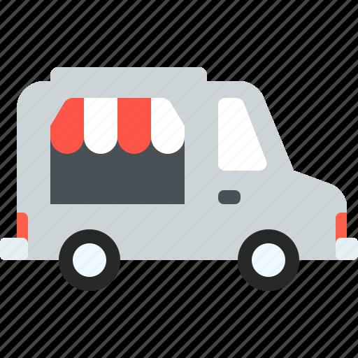 car, car shop, market, shop, transport, travel, van icon