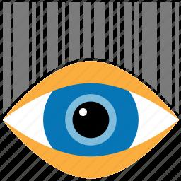 bar code, decode, digital identification, eye, price reader, scanner, view barcode icon