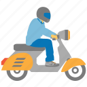 bike courier, biker, chopper, motorbike, motorcycle, rider, scooter icon