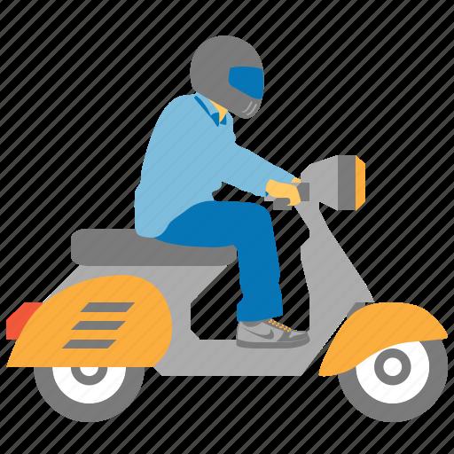 bike courier, biker, chopper, motorbike, motorcycle, rider, scooter icon