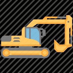 construction, equipment, excavator, industry, machine, machinery icon